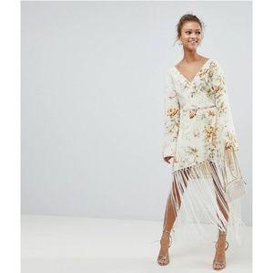 ASOS wrap dress with fringe